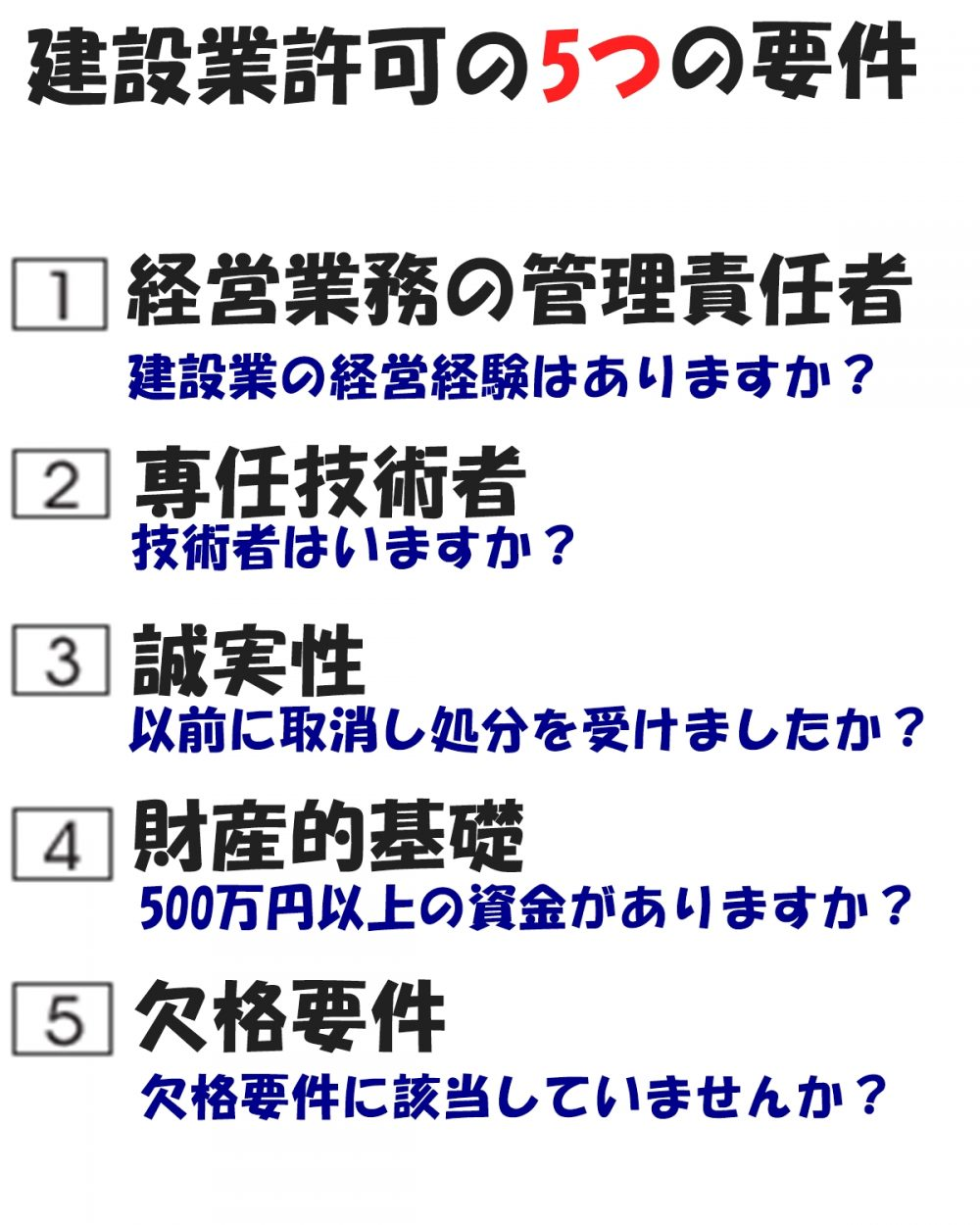 建設業許可の5つの要件(茨城県建設業許可サポート)